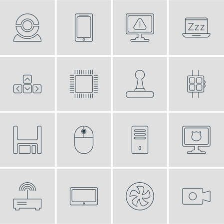 Vector Illustration Of 16 Notebook Icons Illustration