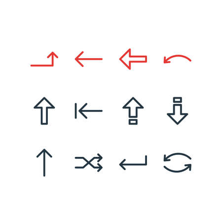 Vector Illustration Of 12 Sign Icons. Editable Pack Of Upwards, Up, Turn And Other Elements. Illustration