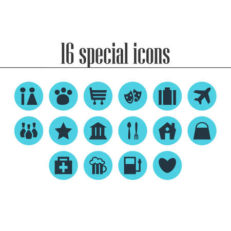rate: Vector Illustration Of 16 Travel Icons Illustration