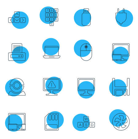 Vector Illustration Of 16 Notebook Icons. Editable Pack Of Screen, Notebook, Gadgets And Other Elements. Illustration