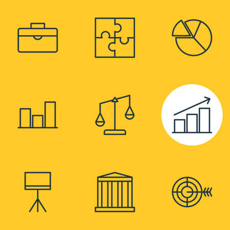 scale of justice: Vector Illustration Of 9 Business Icons. Editable Pack Of Portfolio, Columns, Chart And Other Elements.