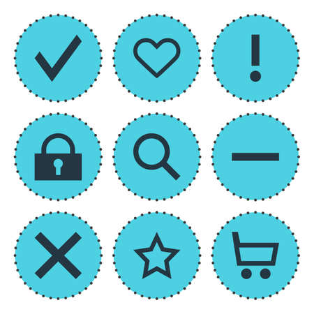 Vector Illustration Of 9 Interface Icons. Editable Pack Of Magnifier, Minus, Alert And Other Elements.