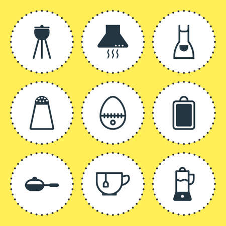 browning: Vector Illustration Of 9 Restaurant Icons. Editable Pack Of Barbecue, Pan, Extractor Appliance And Other Elements.