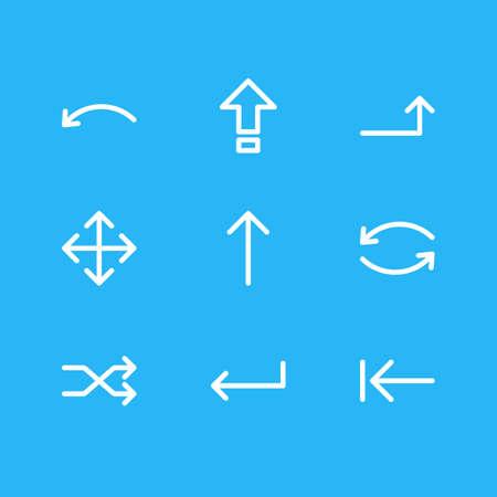 Vector Illustration Of 9 Arrows Icons. Editable Pack Of Randomize, Undo, Turn Elements. Illustration