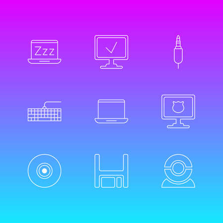 Vector Illustration Of 9 Laptop Icons. Editable Pack Of Antivirus, Qwerty Board, Web Camera And Other Elements.