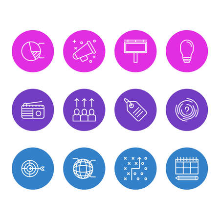 wireless icon: Vector Illustration Of 12 Advertising Icons. Editable Pack Of Goal, Maze, Circle Diagram And Other Elements.