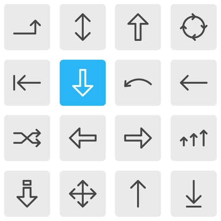 Vector Illustration Of 16 Arrows Icons. Editable Pack Of Undo, Raise, Left And Other Elements.
