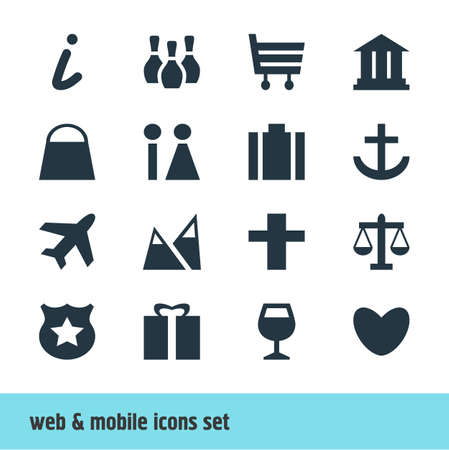 Vector Illustration Of 16 Map Icons. Editable Pack Of Present, University, Landscape Elements. Illustration