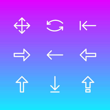 Vector Illustration Of 9 Sign Icons. Editable Pack Of Right, Up, Left And Other Elements.