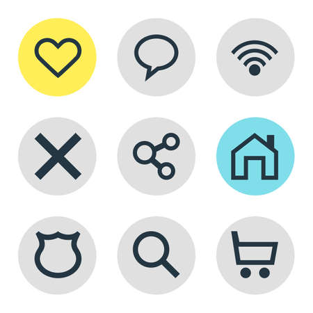 wireless signal: Vector Illustration Of 9 User Icons. Editable Pack Of Magnifier, Cordless Connection, Mainpage And Other Elements.