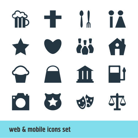 Vector Illustration Of 16 Check-In Icons. Editable Pack Of Photo Device, Cross, Refueling And Other Elements. Illustration