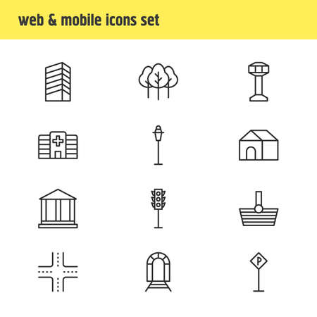 domicile: Vector Illustration Of 12 Infrastructure Icons. Editable Pack Of Clinic, Subway, Road Sign And Other Elements.