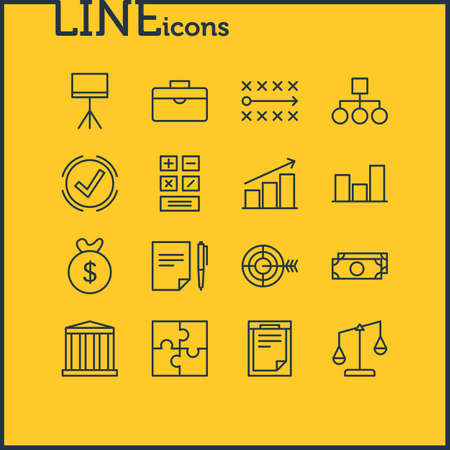 jobs: Vector Illustration Of 16 Trade Icons. Editable Pack Of Agreement , Board Stand, Riddle Elements. Illustration