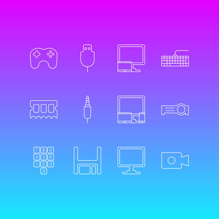 Vector Illustration Of 12 Laptop Icons. Editable Pack Of Serial Bus, Qwerty Board, Input Jack And Other Elements. Illustration