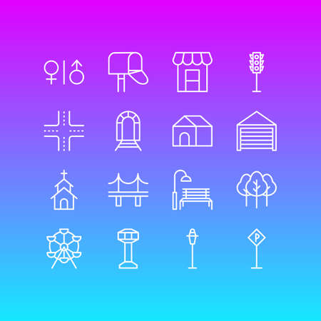 Vector Illustration Of 16 City Icons. Editable Pack Of Toilet, Semaphore, Control Tower And Other Elements.