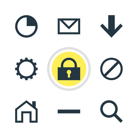 Vector Illustration Of 9 Member Icons. Editable Pack Of Access Denied, Padlock, Downward And Other Elements.