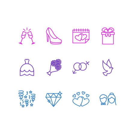 rich couple: Editable Pack Of Bridal Bouquet, Wedding Gown, Sandal Elements. Vector Illustration Of 12 Wedding Icons.