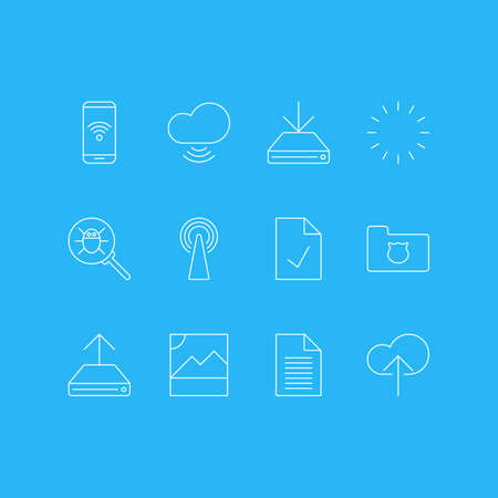 Vector Illustration Of 12 Network Icons. Editable Pack Of Bug, Wave, Telephone And Other Elements. Illustration