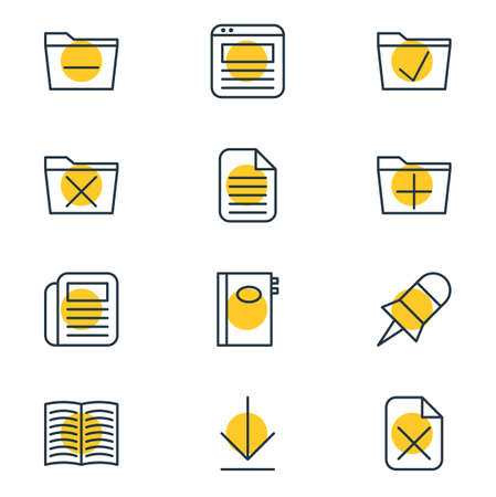 Vector Illustration Of 12 Workplace Icons. Editable Pack Of Deleting Folder, Remove, Textbook And Other Elements.