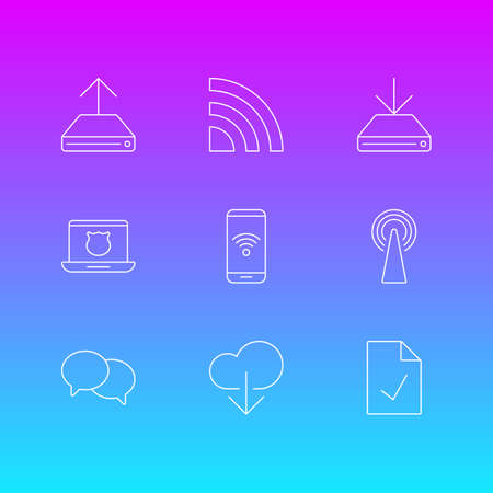 alright: Vector Illustration Of 9 Internet Icons. Editable Pack Of Information Load, Wireless Network, Router And Other Elements.