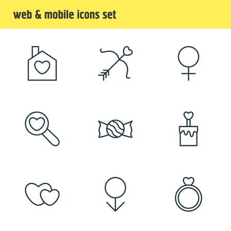 Illustration vectorielle de 9 icônes d'Amour. Pack modifiable de Cupidon, femme, mâle et autres éléments. Banque d'images - 82592793