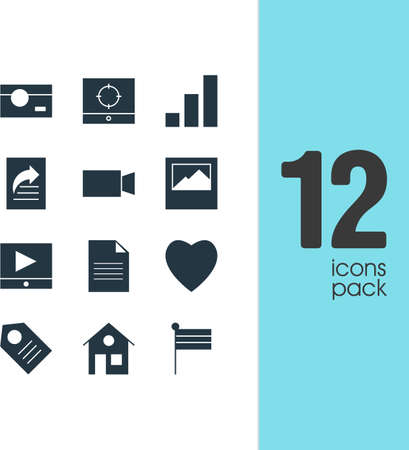Vector Illustration Of 12 Online Icons. Editable Pack Of Coupon, Love, Increase Chart And Other Elements.