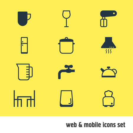 browning: Vector Illustration Of 12 Restaurant Icons. Editable Pack Of Teakettle, Soup Pan, Whisk And Other Elements. Illustration