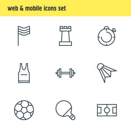 Vector Illustration Of 9 Fitness Icons. Editable Pack Of Pong, Soccer, T-Shirt And Other Elements.