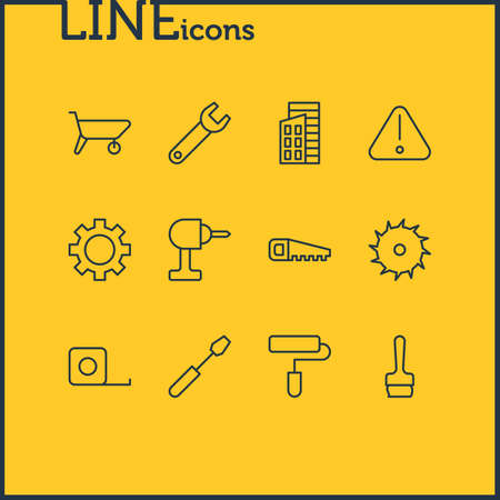 Vector Illustration Of 12 Industry Icons. Editable Pack Of Handcart, Hacksaw, Measure Tape Elements.