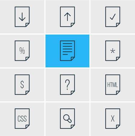 alright: Editable Pack Of Percent, Basic, Done And Other Elements. Vector Illustration Of 12 Document Icons.