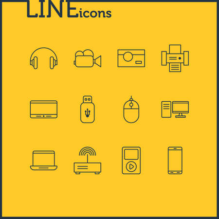 Vector Illustration Of 12 Technology Icons. Editable Pack Of Usb Card, Photocopier, Modem And Other Elements.