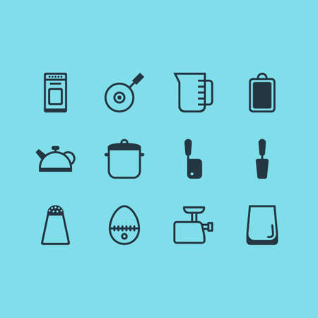 housewares: Vector Illustration Of 12 Cooking Icons. Editable Pack Of Chopping Desk, Glass Cup, Breakfast And Other Elements.