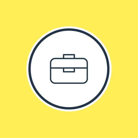 be: Vector Illustration Of Briefcase Outline. Beautiful Instruments Element Also Can Be Used As Portfolio  Element.