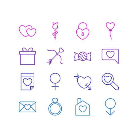 Paquet éditable d'invitation, de sucettes, de mâle et d'autres éléments. Illustration vectorielle de 16 icônes d'amour.