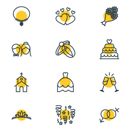 patisserie: Vector Illustration Of 12 Marriage Icons. Editable Pack Of Building, Patisserie, Engagement And Other Elements.