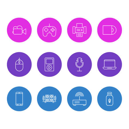 Editable Pack Of Smartphone, Dvd Drive, Media Controller And Other Elements. Vector Illustration Of 12 Accessory Icons.