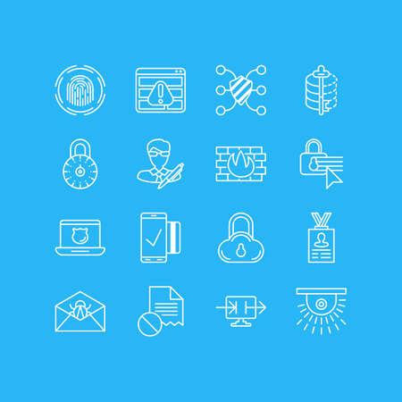 decode: Vector Illustration Of 16 Privacy Icons. Editable Pack Of Copyright, Safe Lock, Corrupted Mail And Other Elements.
