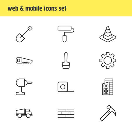 machinery: Vector Illustration Of 12 Industry Icons. Editable Pack Of Lorry, Cogwheel, Measure Tape And Other Elements. Illustration
