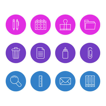 Editable Pack Of Adhesive, Pencil, Date And Other Elements. Vector Illustration Of 12 Instruments Icons. Illustration