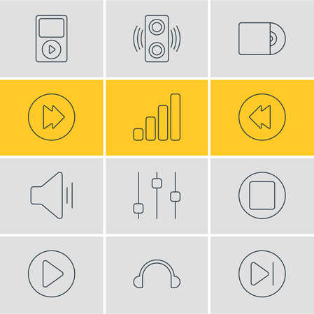 earpiece: Vector Illustration Of 12 Music Icons. Editable Pack Of Mp3, Amplifier, Audio And Other Elements.