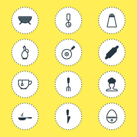 Editable Pack Of Kitchen Dagger, Mug, Fork And Other Elements. Vector Illustration Of 12 Restaurant Icons. Illustration