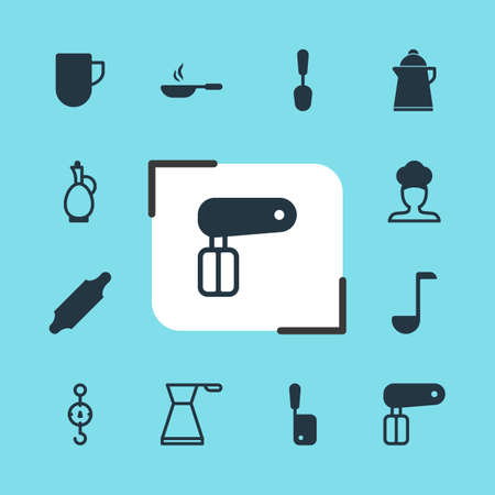 tablespoon: Editable Pack Of Bakery Roller, Carafe, Tea Cup And Other Elements. Vector Illustration Of 12 Cooking Icons.