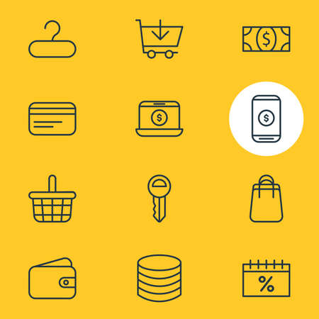 Vector Illustration Of 12 Commerce Icons. Editable Pack Of Payment, Trading, Shopping And Other Elements.