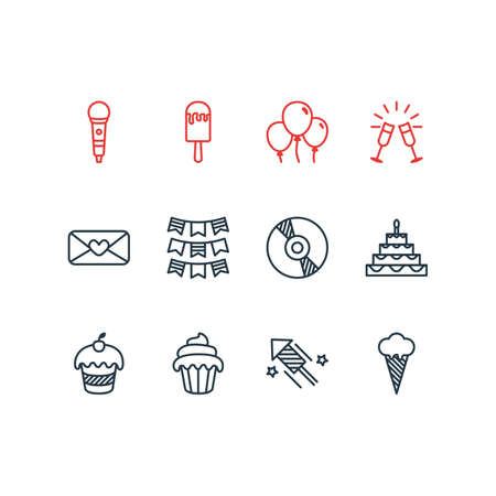 feast: Editable Pack Of Compact Disk, Muffin, Firecracker And Other Elements. Vector Illustration Of 12 Banquet Icons. Illustration