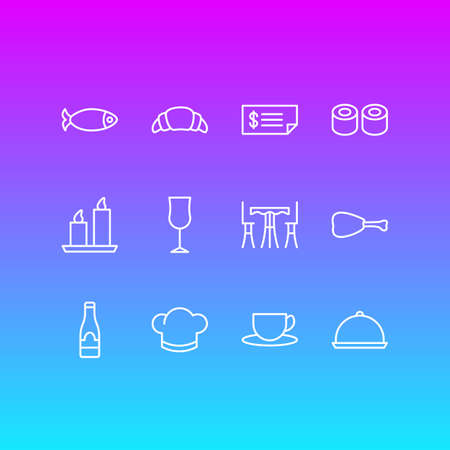 Vector Illustration Of 12 Eating Icons. Editable Pack Of Hat, Fire Wax, Tray And Other Elements.