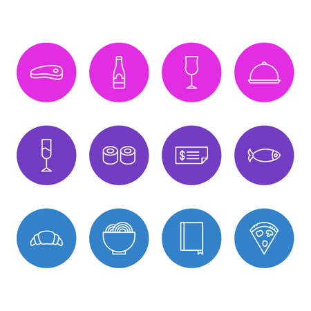 Editable Pack Of Pepperoni, Alcohol, Dessert And Other Elements. Vector Illustration Of 12 Eating Icons.