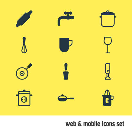 saute: Vector Illustration Of 12 Restaurant Icons. Editable Pack Of Mixer, Faucet, Shaker And Other Elements.