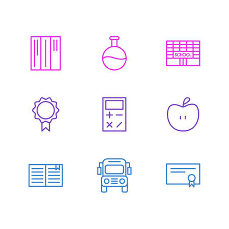reader: Editable Pack Of School, Bookshelf, Trophy And Other Elements. Vector Illustration Of 9 Science Icons.