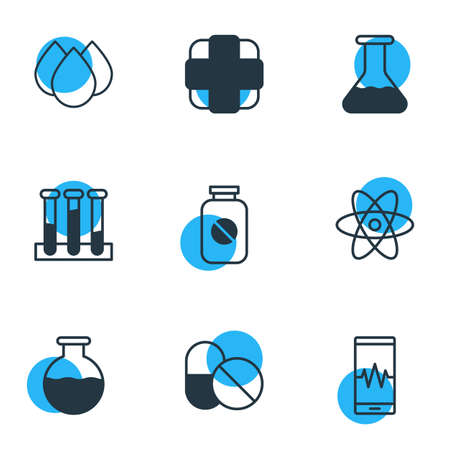 Vector Illustration Of 9 Medical Icons. Editable Pack Of Phone Monitor, Trickle, Pharmaceutical And Other Elements. Vectores