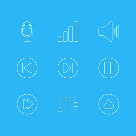 Editable Pack Of Preceding, Volume Up, Rewind And Other Elements. Vector Illustration Of 9 Melody Icons. Illustration